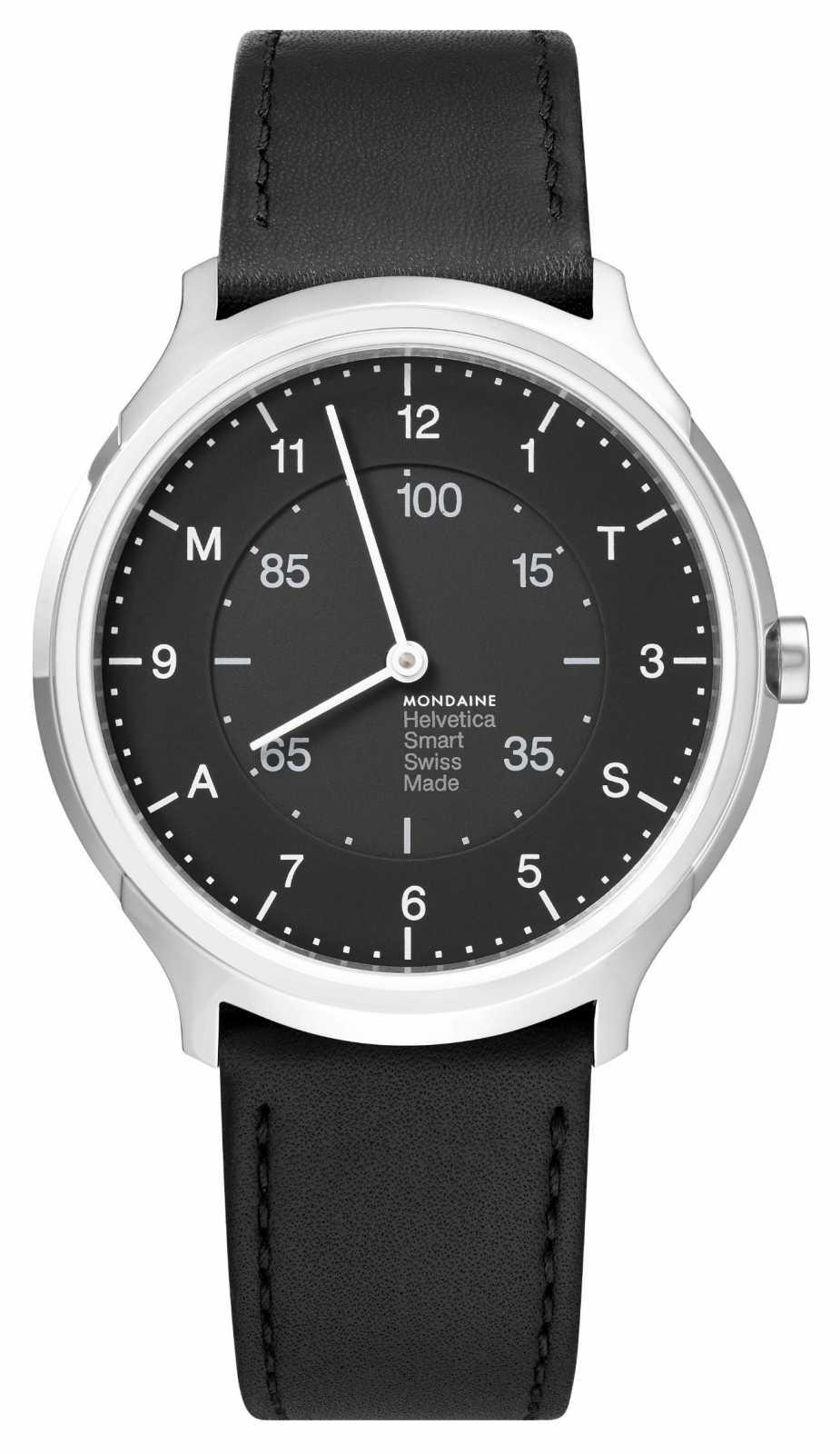 Mondaine Helvetica Smart 40mm Black Dial Black Leather Strap MH1.R2S20.LB