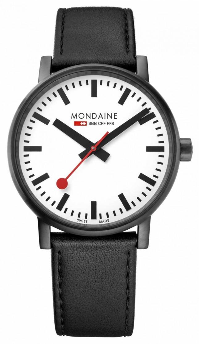 Mondaine Evo2 40mm Black Leather Strap Black IP Watch MSE.40111.LB