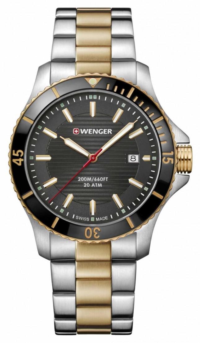 Wenger Seaforce Two Tone Metal Bracelet Watch 01.0641.127