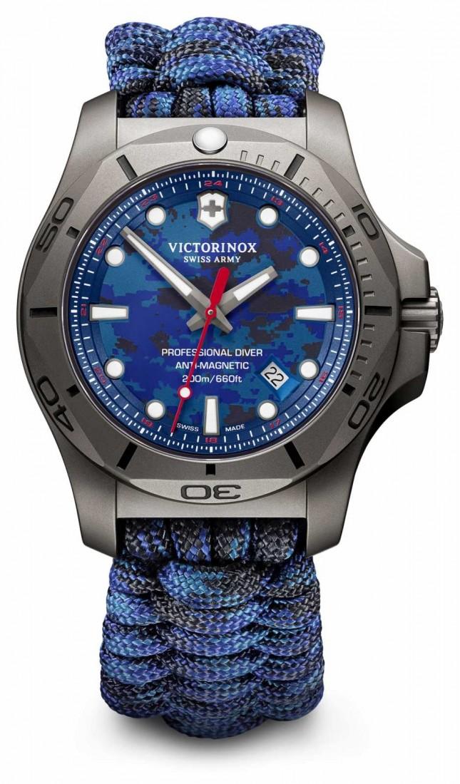 Victorinox Swiss Army Mens I.N.O.X Pro Diver Titanium Case Blue Paracord Strap 241813