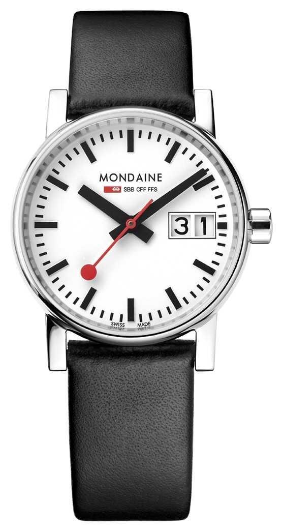 Mondaine Evo2 30mm Big Date Black Leather Strap Watch MSE.30210.LB