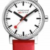 Mondaine Evo2 35mm Red Leather Strap Watch MSE.35110.LC