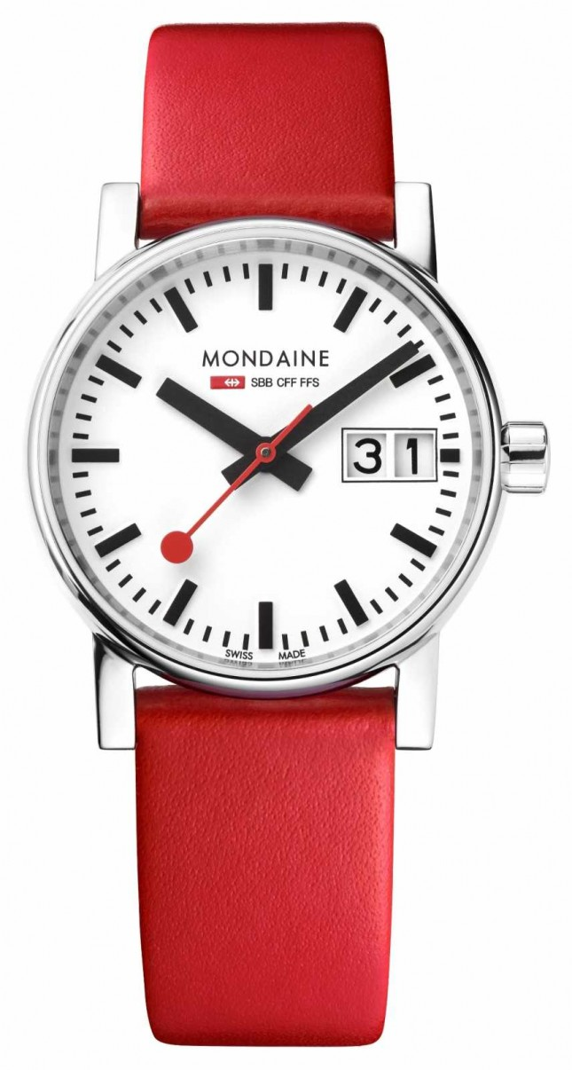Mondaine Evo2 30mm Big Date Red Leather Strap Watch MSE.30210.LC