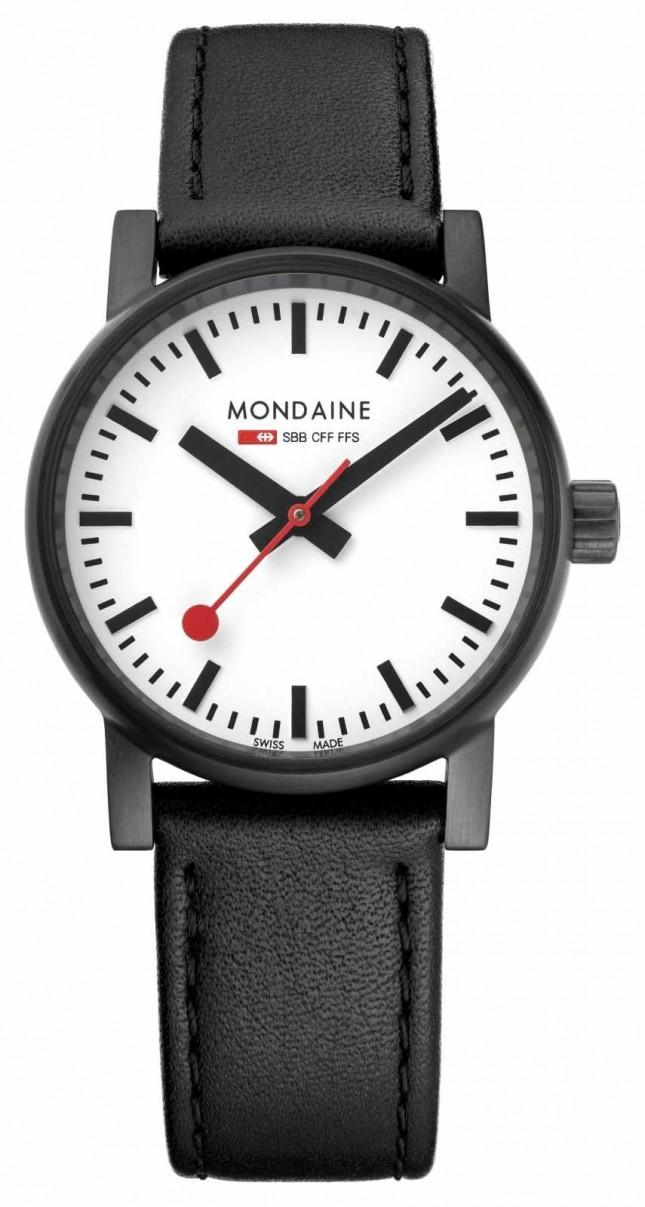 Mondaine Evo2 30mm Black Leather Black IP Watch MSE.30111.LB