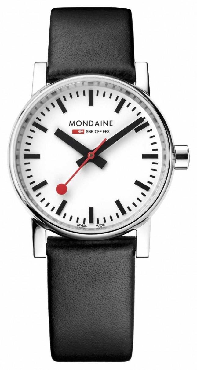 Mondaine Evo2 30mm Black Leather Strap Watch MSE.30110.LB