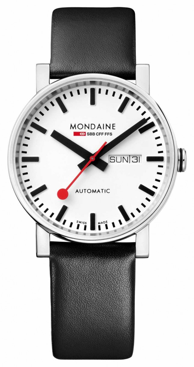 Mondaine Mens Evo2 Day-Date Automatic Black Leather Watch A132.30348.11SBB
