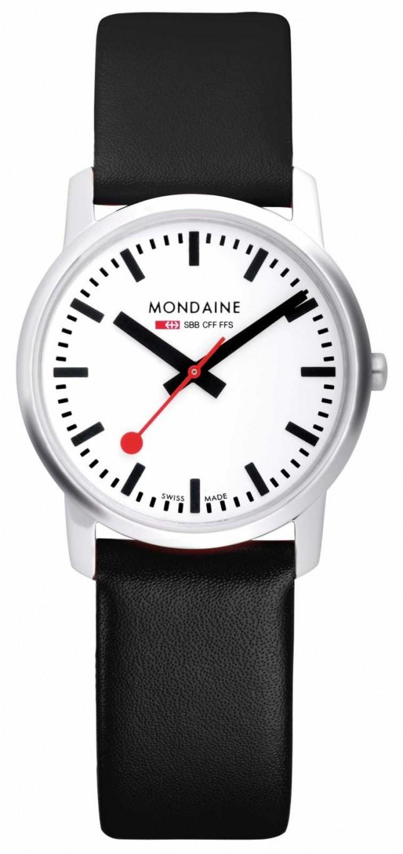 Mondaine Mens Simply Elegant Black Leather Watch A638.30350.11SBB