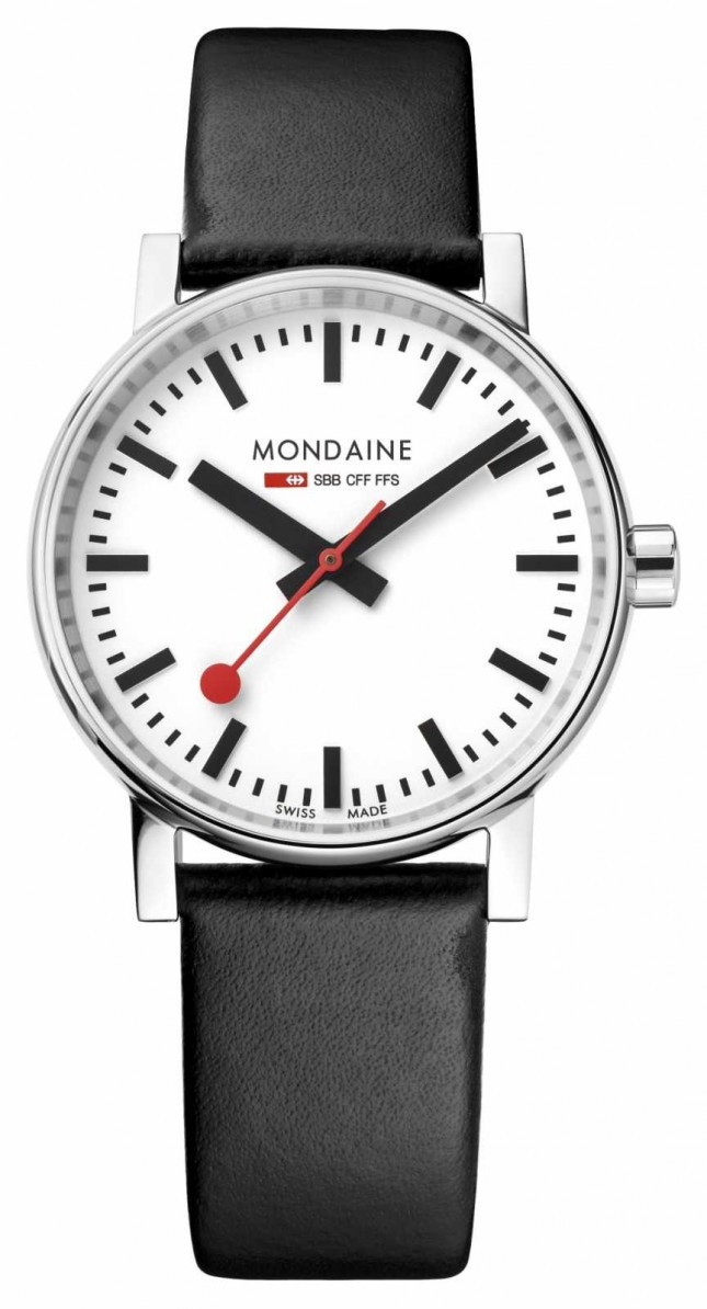 Mondaine Evo2 35mm Black Leather Strap Watch MSE.35110.LB