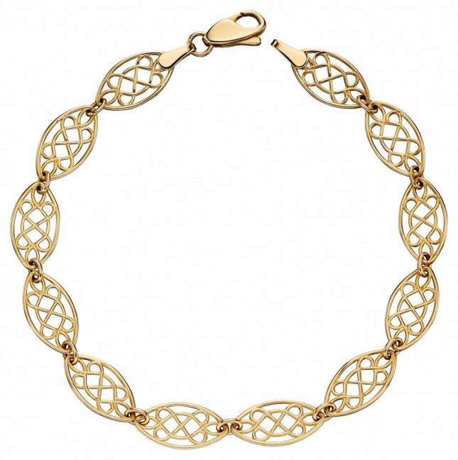 Elements Gold 9k Yellow Gold Filigree Tennis Bracelet 19cm GB470