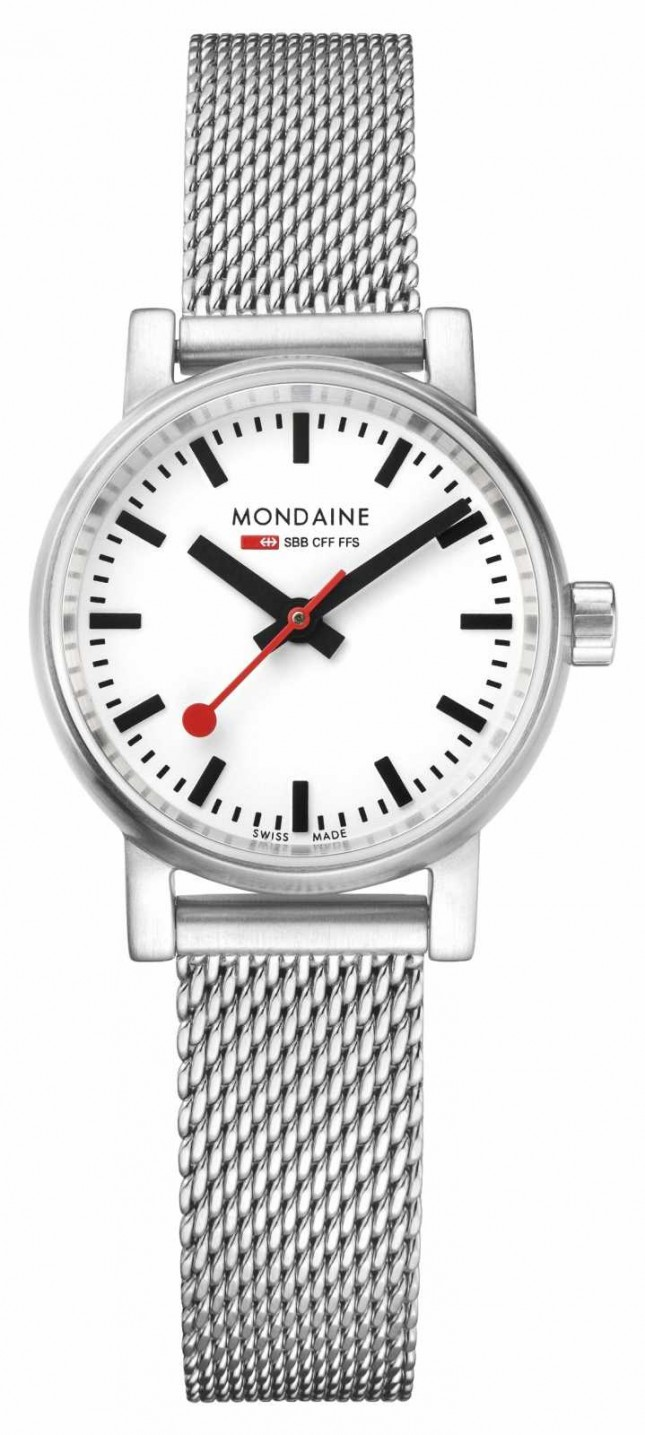 Mondaine Ladies Evo2 Petite 26mm Stainless Steel Mesh Watch MSE.26110.SM
