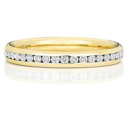 Treasure House 18k Yellow Gold  50% Diamond Set Channel Eternity Ring WQ220