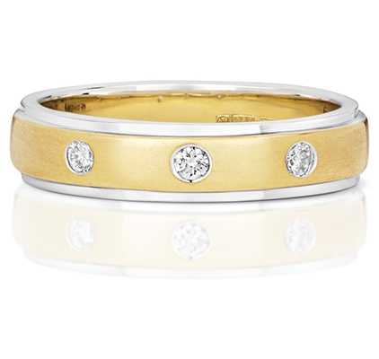 James Moore TH 9k Yellow And White Gold 3 Diamond Band RD711