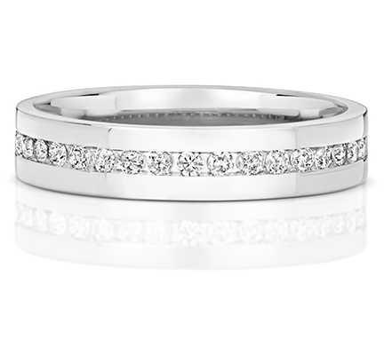 Treasure House 9k White Gold Diamond Set Half Eternity Ring RD551W