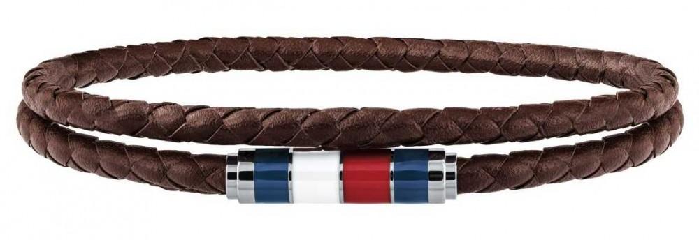 Tommy Hilfiger Mens Brown Leather Double Wrap Bracelet 2790055