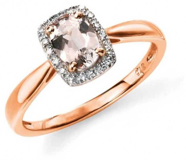 Elements Gold 9k Rose Gold Diamond Pink Morganite Ring Size EU 54 (UK N) GR517P54