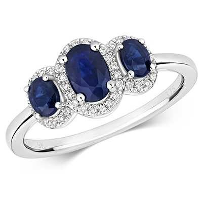 James Moore TH 9k White Gold 3 Stone Sapphire Diamond Ring RD423WS