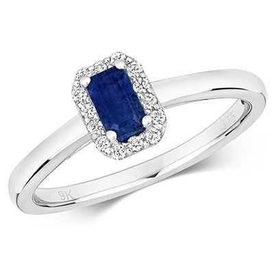 Treasure House 9k White Gold Sapphire Diamond Cluster Ring RD409WS