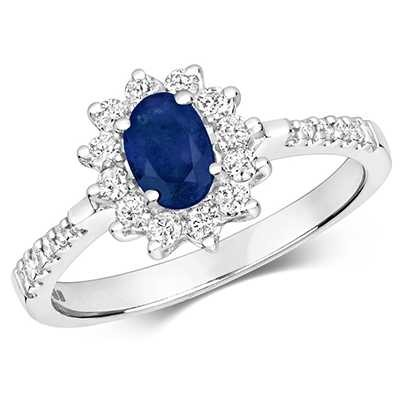 James Moore TH 9k White Gold Diamond Sapphire Ring RD502WS