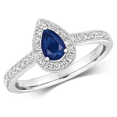 Treasure House 9k White Gold Pear Sapphire Diamond Cluster Ring RD418WS