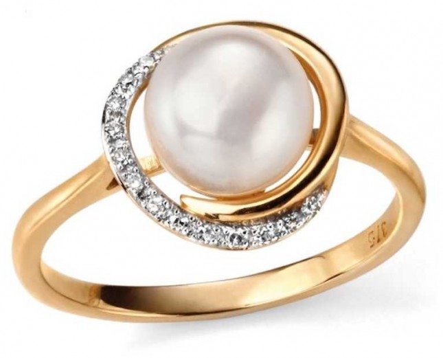 Elements Gold 9k Yellow Gold Diamond Pearl Ring GR503W