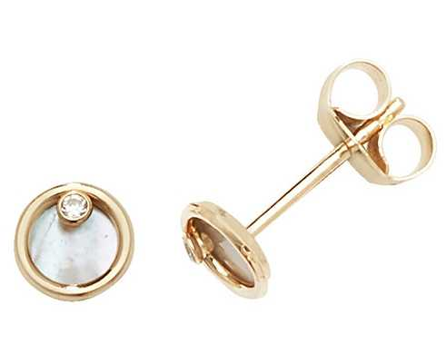 Treasure House 9k Yellow Gold Mother Of Pearl Stud Earrings ES619