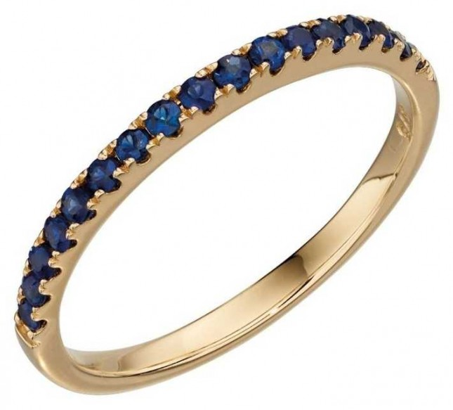 Elements Gold 9k Yellow Gold Sapphire Band Ring GR536L
