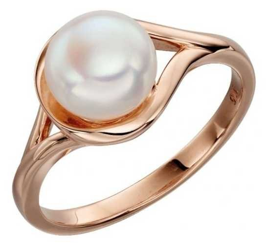 Elements Gold 9k Rose Gold White Pearl Ring GR535W