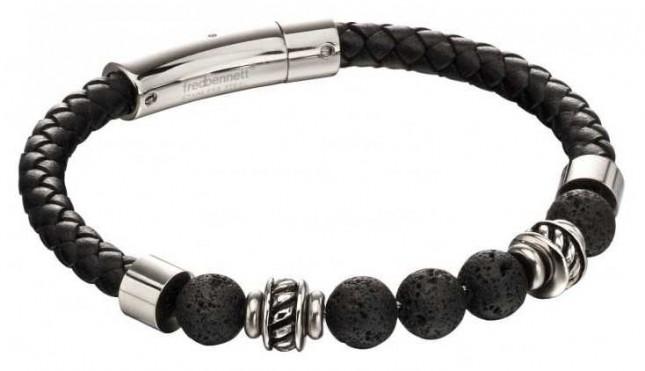 Fred Bennett Black Lava Bead Leather Stainless Steel Bracelet B5097