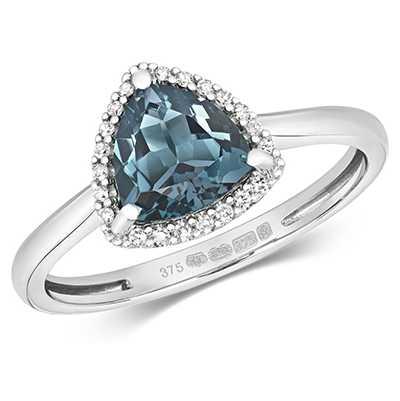 Treasure House 9k White Gold Diamond London Blue Topaz Ring Rd453wlb