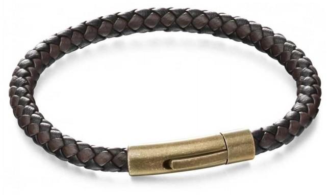 Fred Bennett Gold Antique Stainless Steel Brown Leather Bracelet B5061