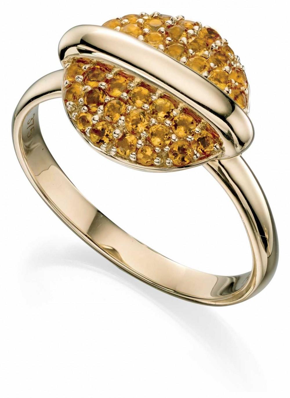 Fiorelli Gold Eclipse Ring 9k Gold Citrine Pavé Disc GR490