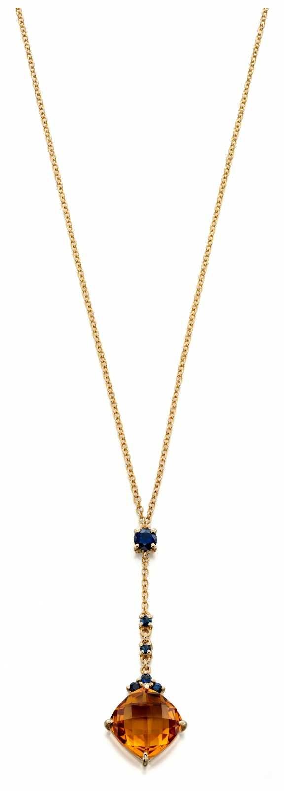 Fiorelli Gold 9k Yellow Gold Citrine Sapphire Necklace 41 – 46 cm GN269