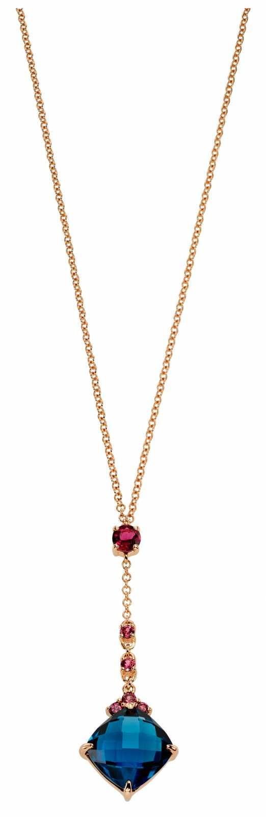 Fiorelli Gold 9k Rose Gold London Blue Topaz Rhodolite Neckace 41 – 46 cm GN268