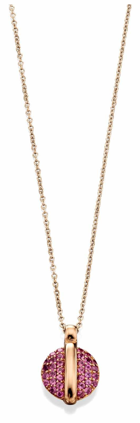 Fiorelli Gold 9k Rose Gold Rhodolite Garnet Pavé Disc Necklace GN252
