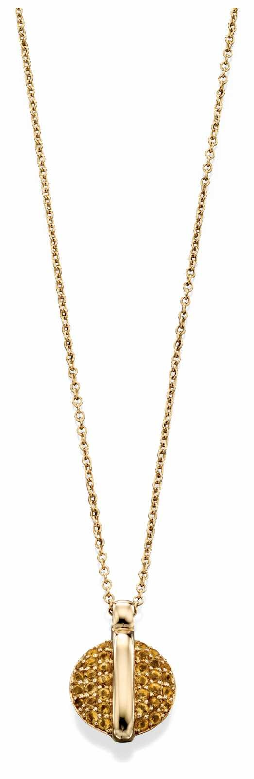 Fiorelli Gold 9k Yellow Gold Pavé Citrine Disc Necklace GN251