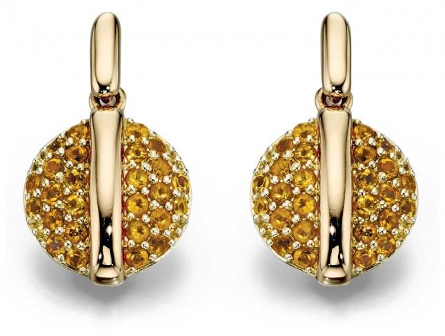 Fiorelli Gold 9k Yellow gold Citrine Pavé Disc Earrings GE2057