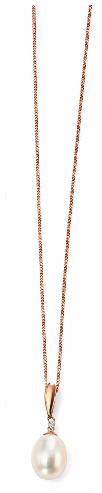 Elements Gold 9k Rose Gold Diamond Pearl Pendant Only GP971W