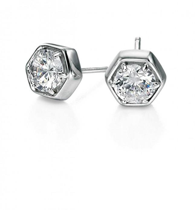 Fiorelli Silver Hexagonal Cubic Zirconia Stud Earrings E4688C