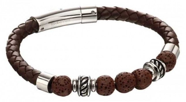 Fred Bennett Brown Lave Bead Leather Stainless Steel Bracelet B5141