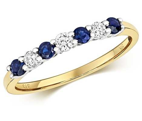 James Moore TH 9k Yellow Gold Diamond and Sapphire Claw Set Eternity Ring RD438S
