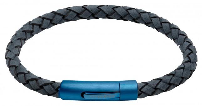 Unique & Co Blue Leather |  Matte Blue IP Clasp | Bracelet B439AB/21CM