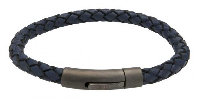 Unique & Co Blue Leather| IP Steel Clasp |  Bracelet B425BLUE/21CM