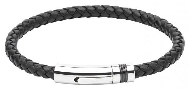 Unique & Co Black Leather |Steel Clasp | Bracelet B345BL/21CM