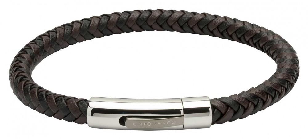 Unique & Co Brown Black Leather  Steel Clasp   Bracelet B371BD/21CM
