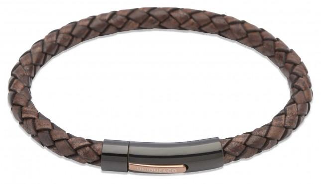Unique & Co Dark Brown Leather | Steel Clasp | Bracelet B320ADB/21CM