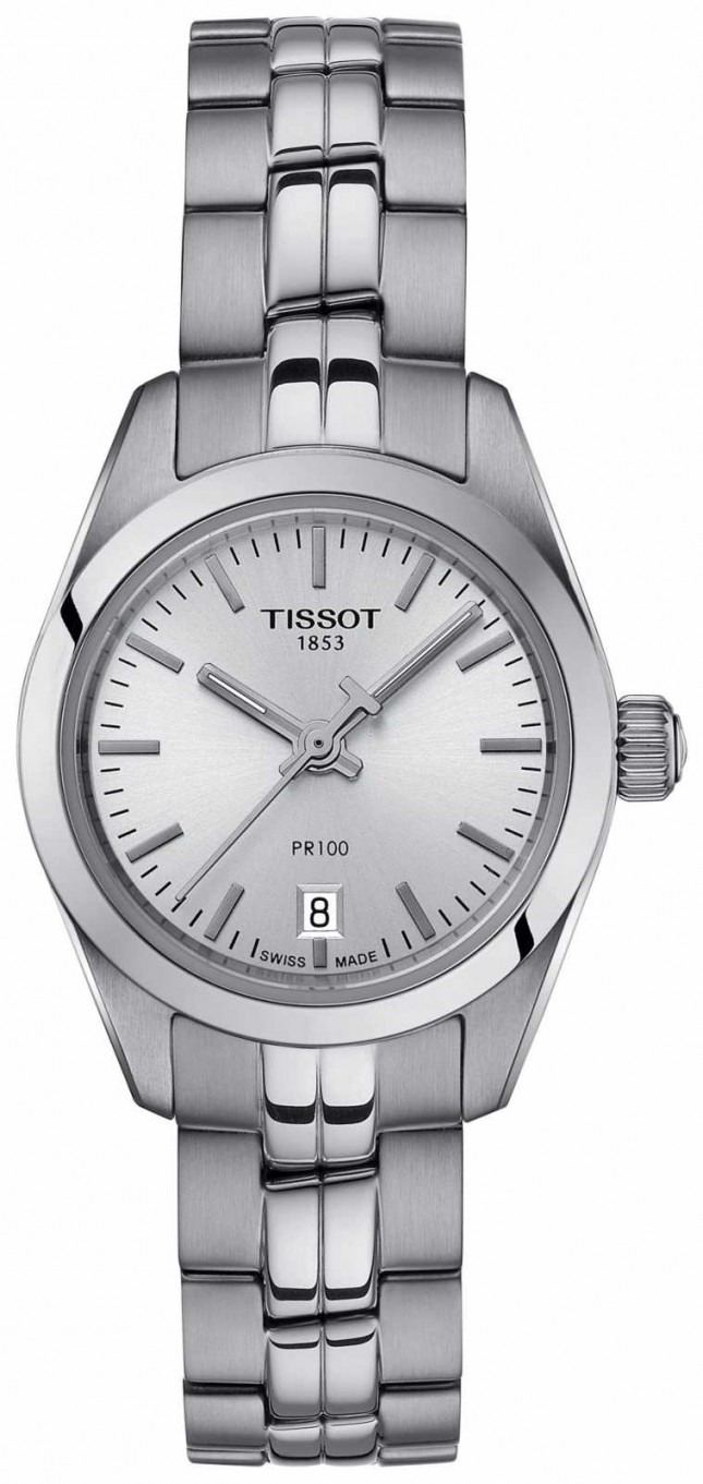 Tissot Ladies PR100 Stainless Steel Bracelet Silver Dial Watch T1010101103100