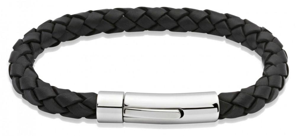 Unique & Co Black Leather    Stainless Steel Clasp   Bracelet A40BL/21CM