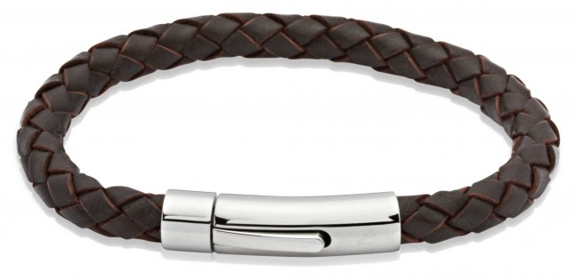 Unique & Co Dark Brown Leather | Stainless Steel Clasp | Bracelet A40DB/21CM