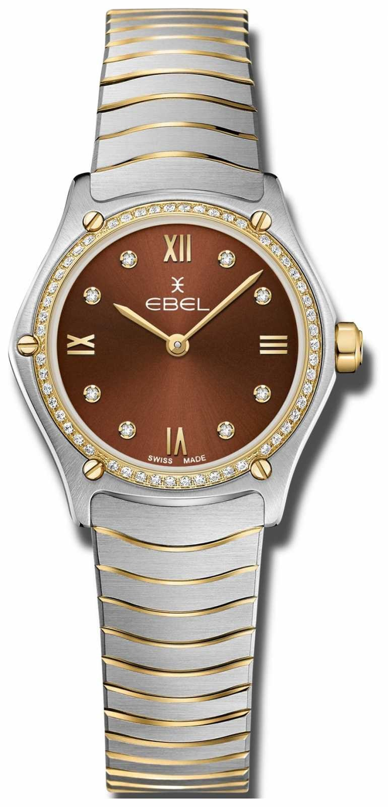 EBEL Womens Sport Classic | Brown Dial | Diamond Set | Stainless 1216443A