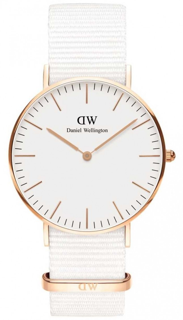 Daniel Wellington Classic 36mm Dover | Rose Gold Case | White Strap DW00100309